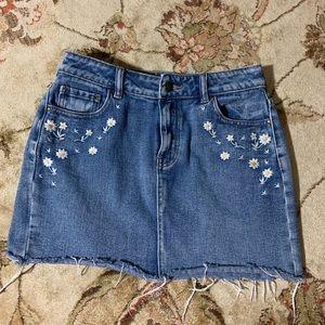 Pacsun Lottie Moss Daisy Embroidered Denim Skirt